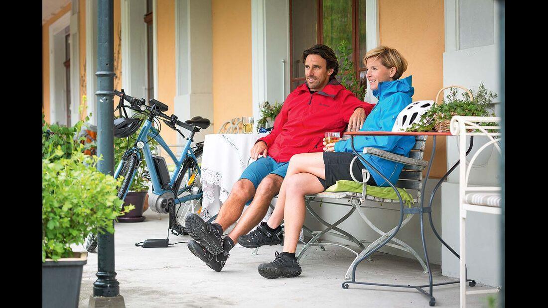 Radfahrer bei der Pause