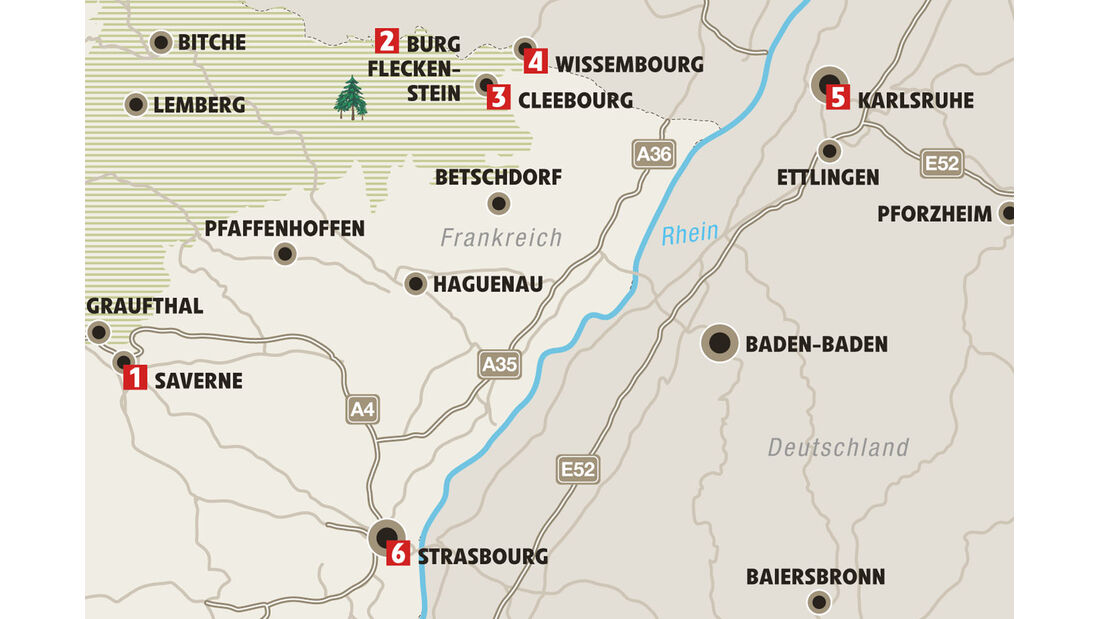 Ratgeber: Mobil-Tour Elsass, Karte