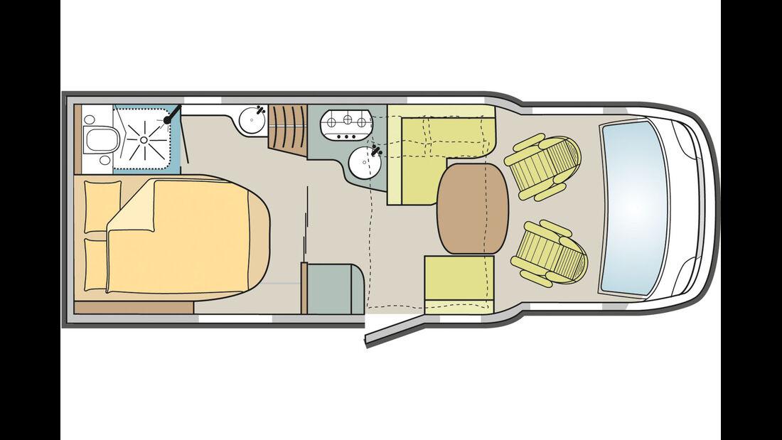 Rechnet man die umgebaute Sitzgruppe hinzu, hat der Rapido fuenf Schlafplaetze .