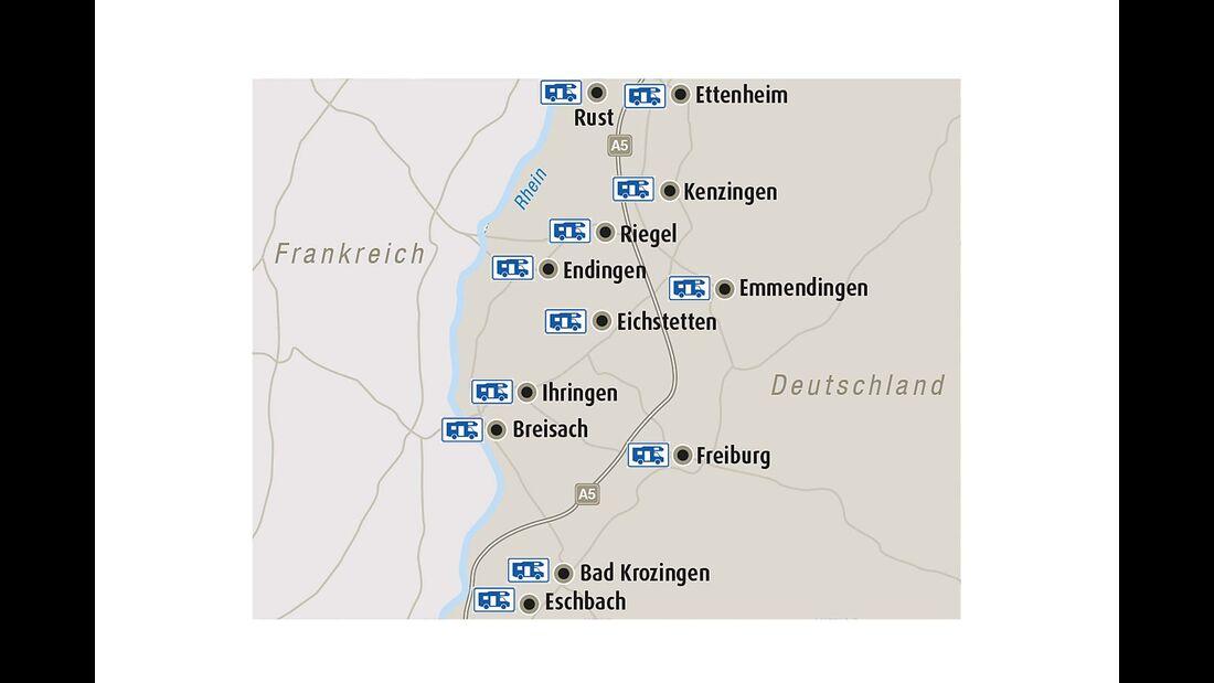 Region Breisgau und Stellplätze im Überblick