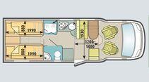 Rund ein halber Meter mehr Länge schafft beim Caraloft 700 MEH Platz für ein großes Raumbad mit separater Dusche.