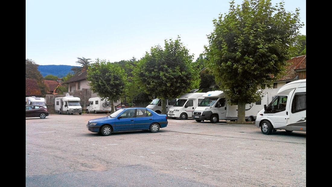 Salins, Gratis-Stellplatz.