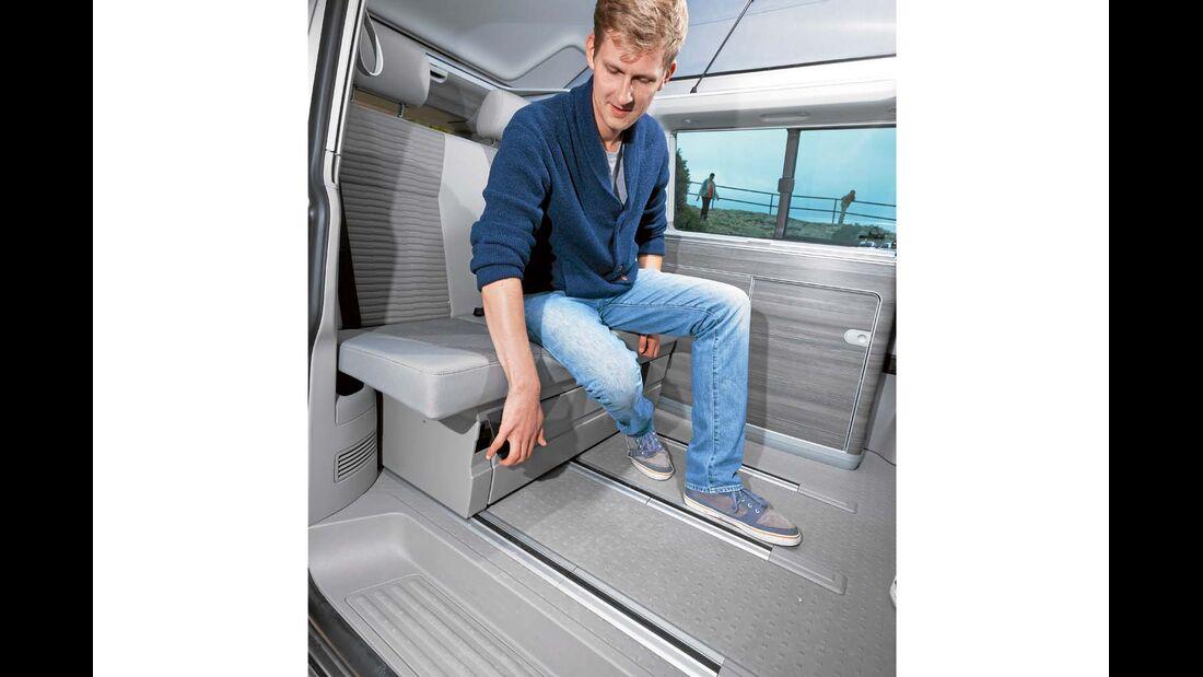 Schienen für Sitzgruppe sind beim VW California besser gegen Schmutz geschützt