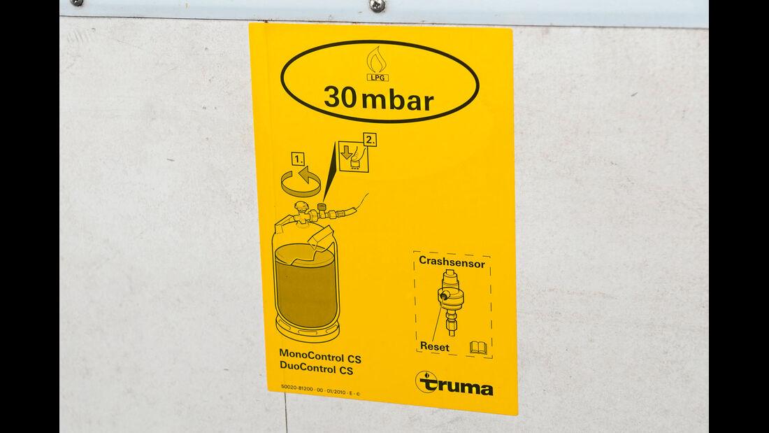 Schild mit Betriebsdruck
