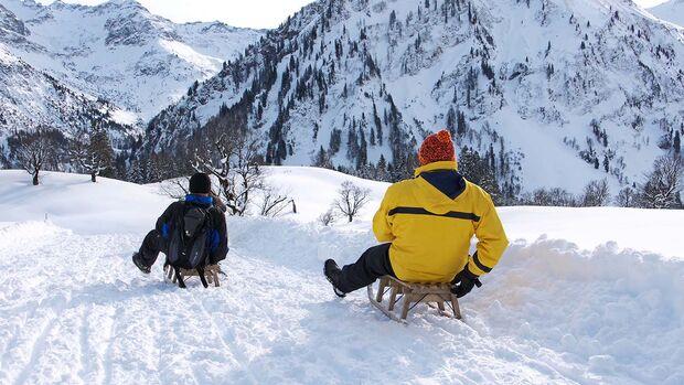 Schlittenpartie auf einer Naturrodelbahn bei Bad Hindelang in den Allgäuer Alpen