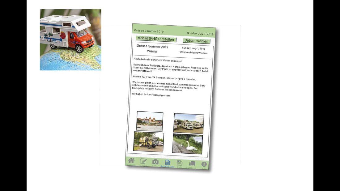 Screenshot der App Reisemobil-Tagebuch