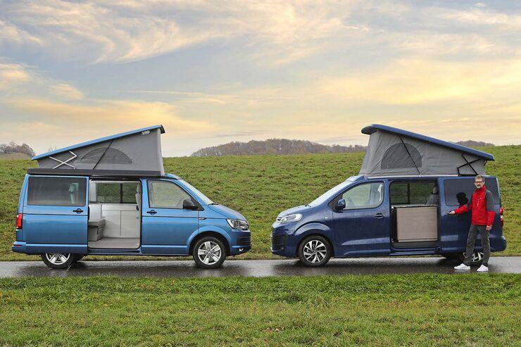 Seitenansicht VW California und Pössl Campster