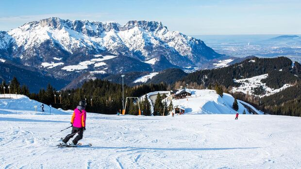 Skiing in the Bavarian Alps (Berchtesgadener Land, Germany)