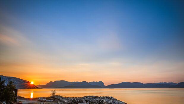 Sonnenuntergang auf dem Botnen Camping am Sognefjord