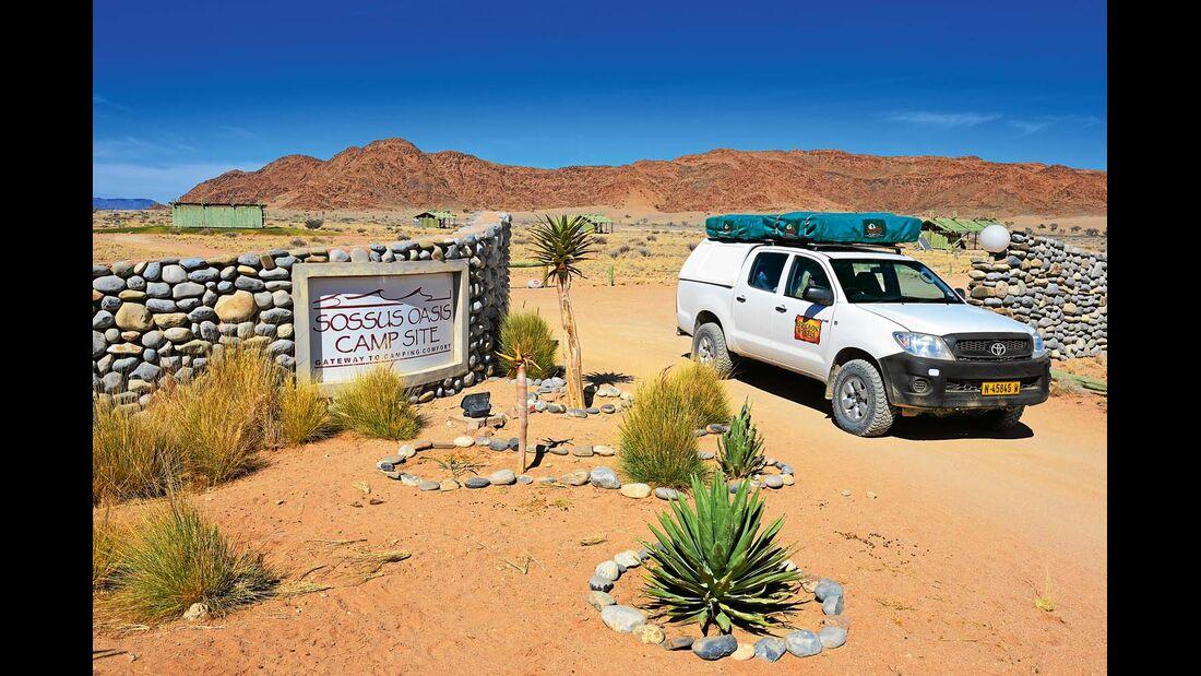 Stellplätze auf der Sossus Oasis Campsite in Namibia