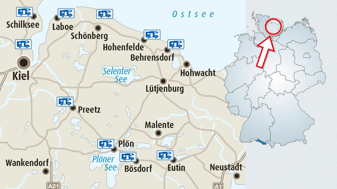 Stellplatz-Fokus Holsteinische Schweiz & Kieler Bucht: Hier stehen Sie richtig.