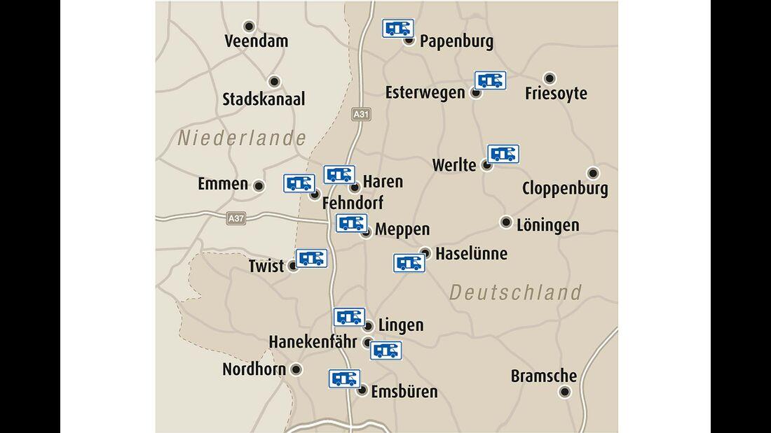 Stellplatz-Fokus Karte Emsland