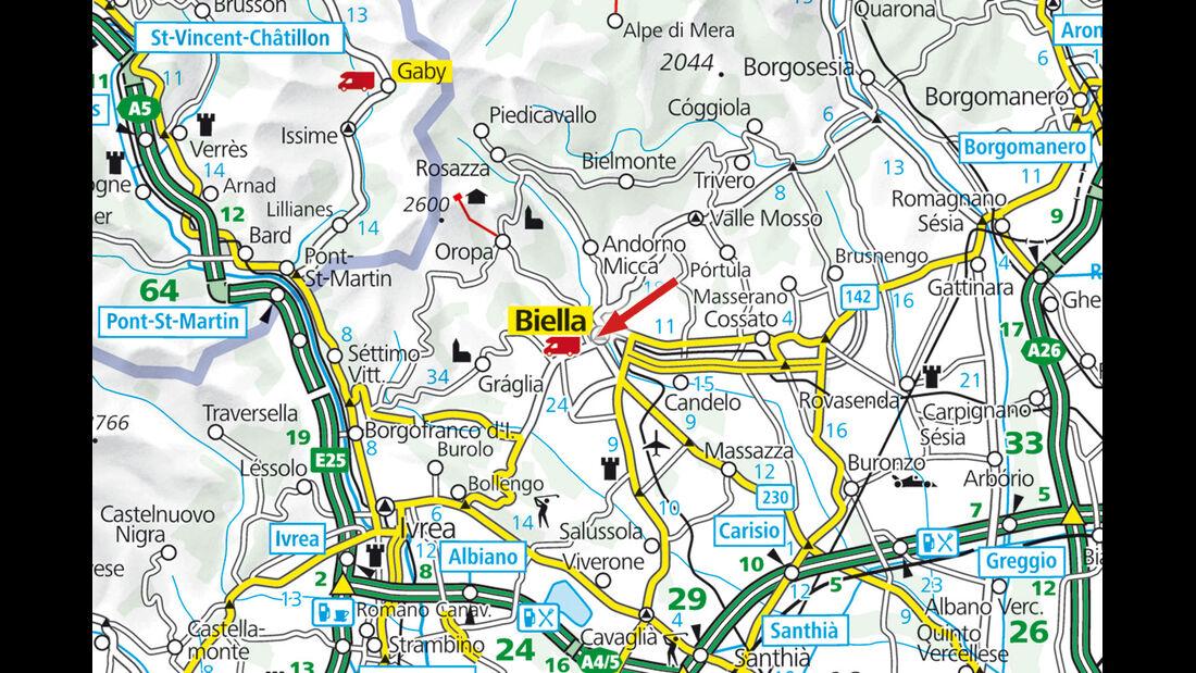Stellplatz-Tipp:  Biella, Karte