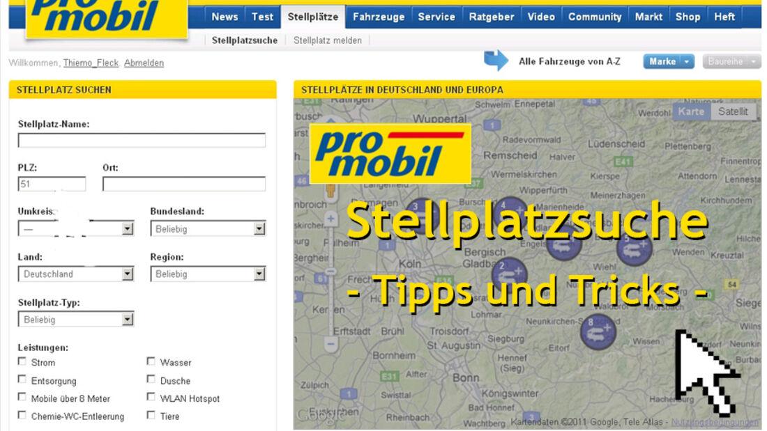 Stellplatzsuche auf promobil.de