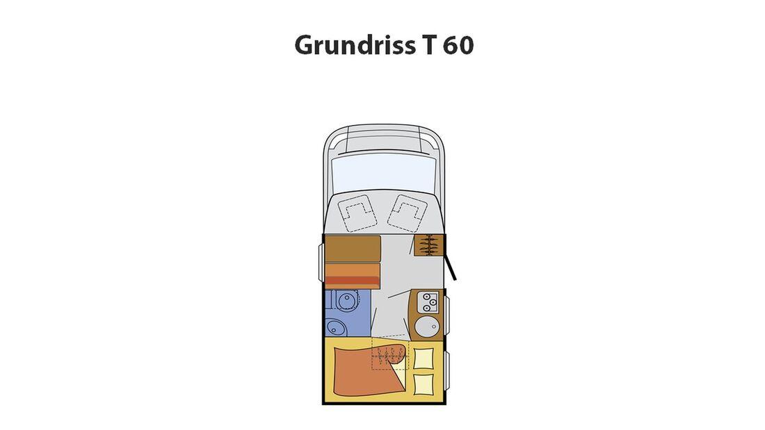 Sunlight präsentiert den T 60 als Teilintegrierten unter sechs Metern Länge. Er wiegt unter 3,5 Tonnen und hat eine Zulassung für vier Personen.