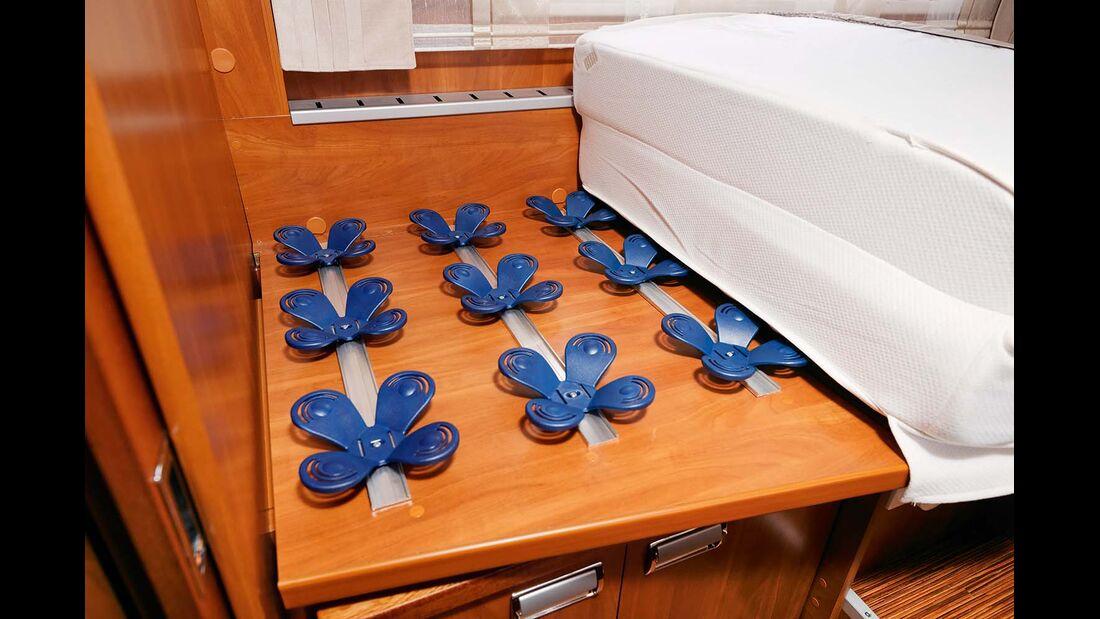 Tellerfedern unter den mehrfach zonierten Matratzen sorgen für eine erholsame Nachtruhe im Laika Kreos