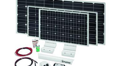Truma bringt zur Stromerzeugung seine SolarSets in vier Leistungsklassen – 23, 65, 100 oder 150 WP – auf den Markt.
