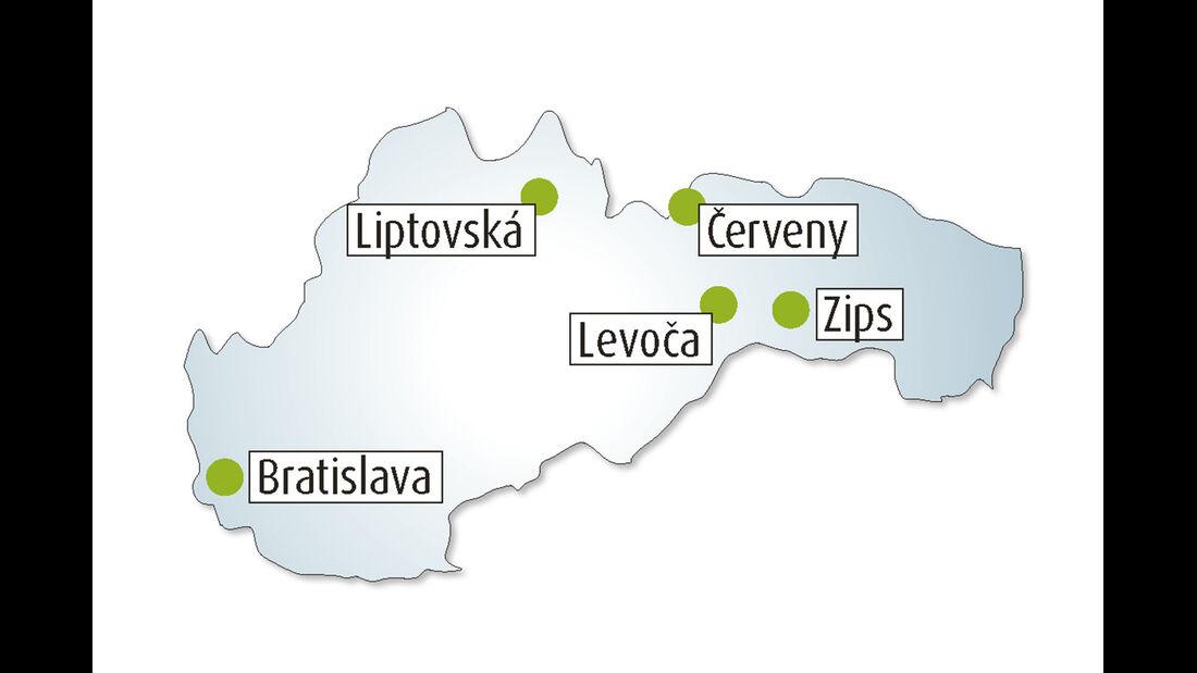 Übersichtskarte Slowakei