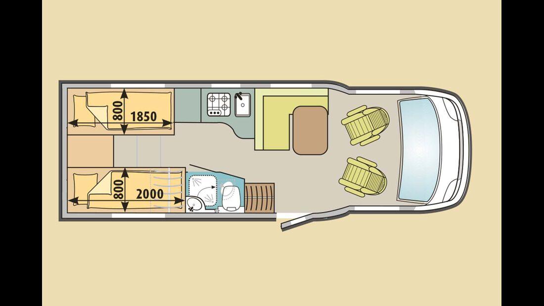 Um unter sieben Meter Länge zu bleiben, verzichtet der T 6717 auf eine separate Dusche.