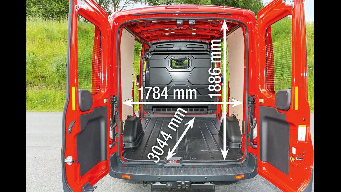 Vergleichstest, Basisfahrzeuge, Gewichte & Kosten: Ford Transit