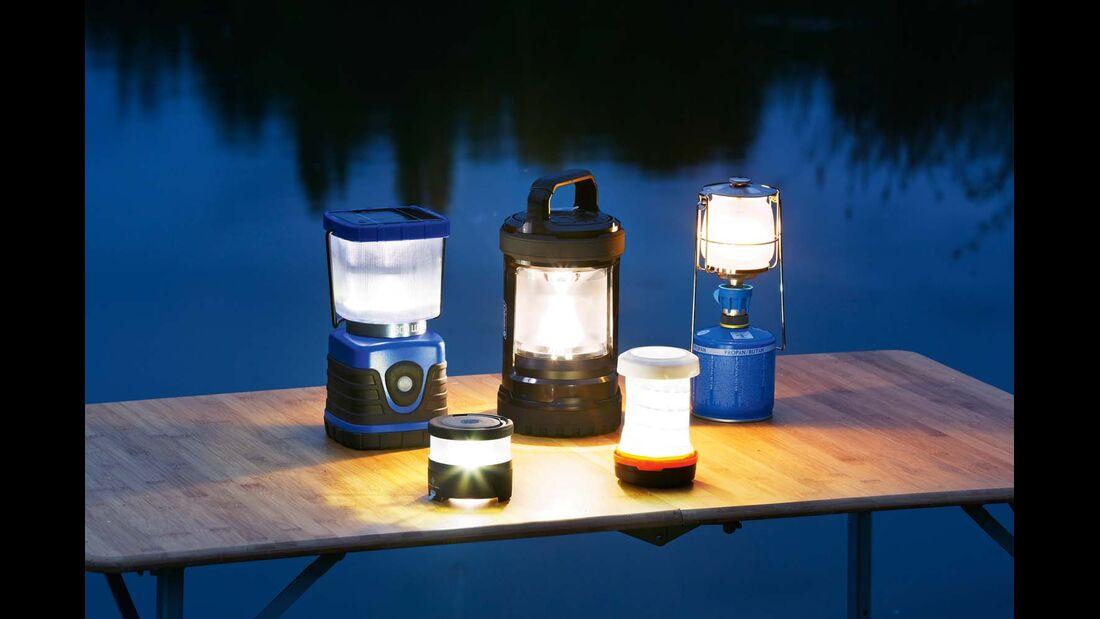 Verschiedene Campinglampen