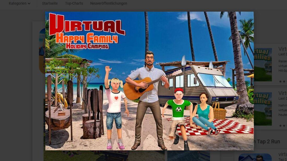 Virtuelle glückliche Familie: Feriencamping
