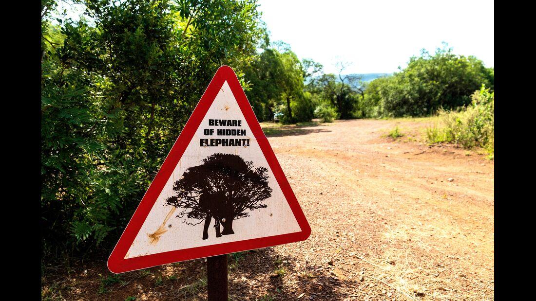 Warnschild vor versteckten Elefanten