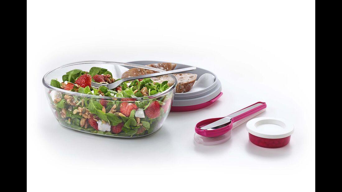 Wer beim Wandern gerne einen knackigen  Salat isst, wird Freude mit der Salatbox Ellipse von Rosti Mepal haben.