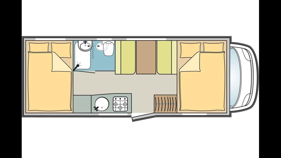 Wie beim Lyseo lässt sich auch im längeren Forster 699 HB die Dinette zum Bett umbauen.