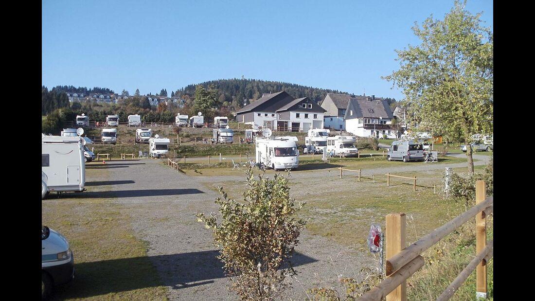 Winterberg: der terrassierte Stellplatz im Ortsteil Neuastenberg.
