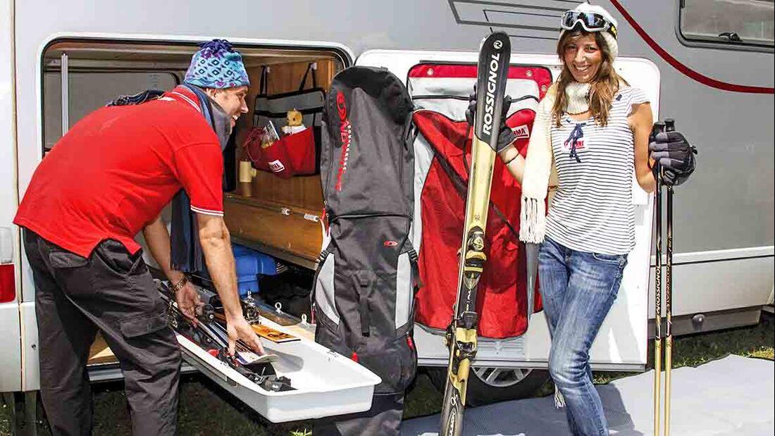Wintersport-Equipment sicher verstauen