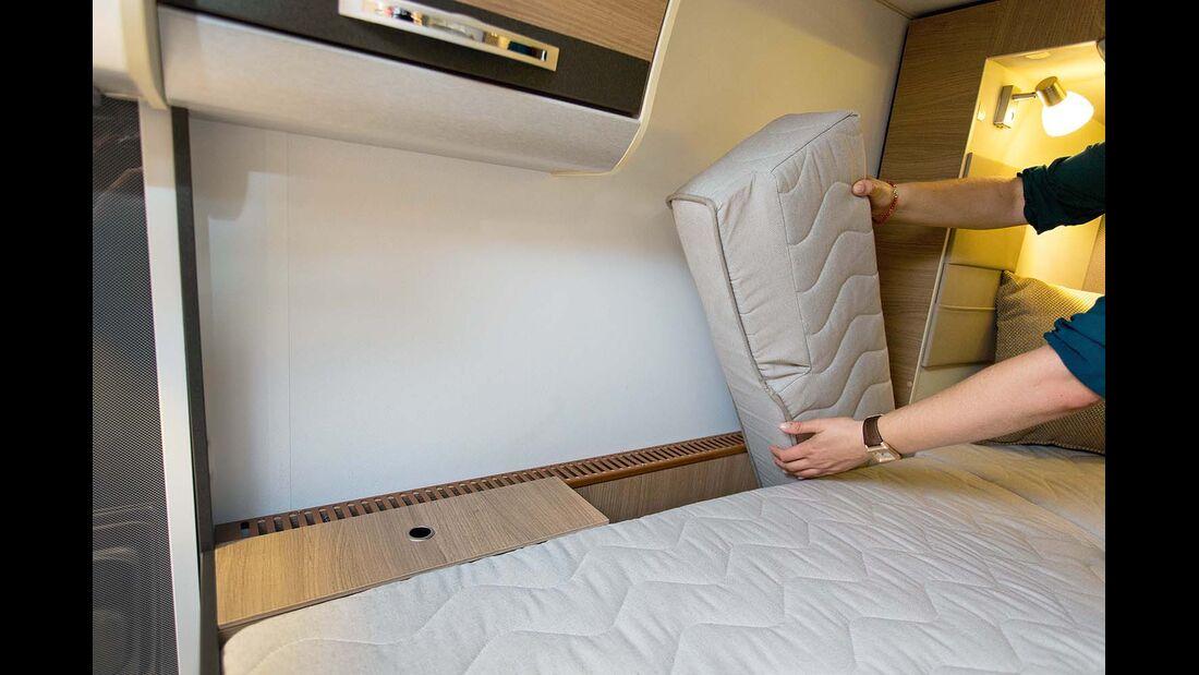 Zusatzpolster verbreitern die Betten beim Adria Compact SLS
