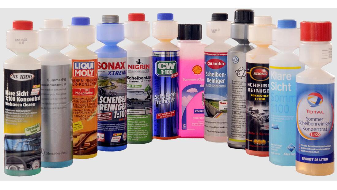 Zwölf Konzentrate auf dem GTÜ-Prüfstand: Viele gute Noten für Reiniger gegen klebrigen Fliegendreck auf der Autoscheibe.