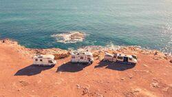 camping, küste, wagenburg