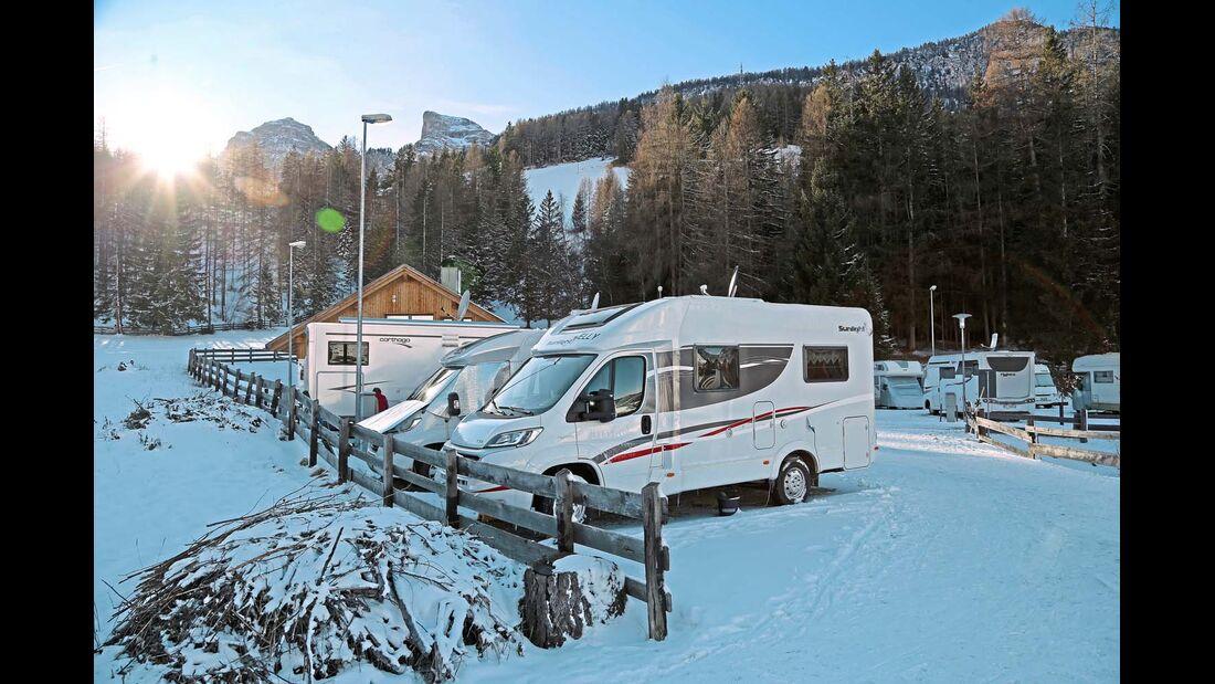 der Stellplatz Parking Odlina im Skigebiet Alta Badia.