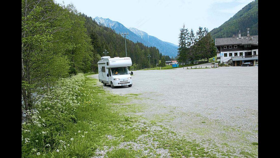 der Stellplatz an den Speikboden-Bergbahnen.